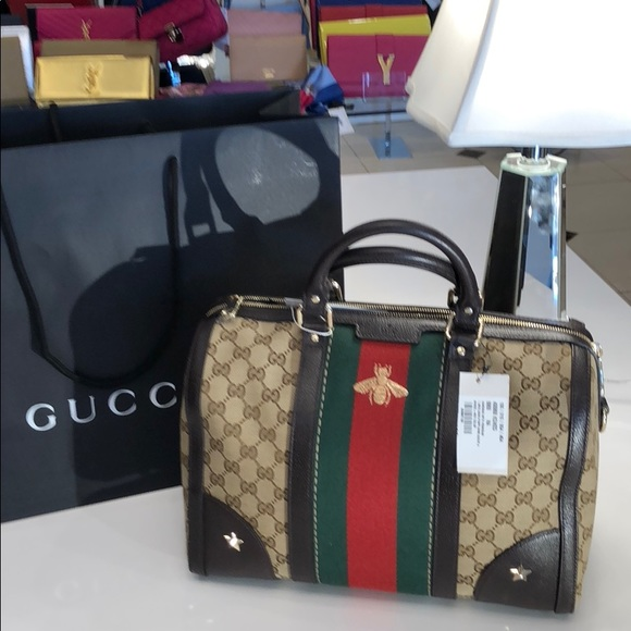 9348edbda48 Gucci Bee web Boston Bag